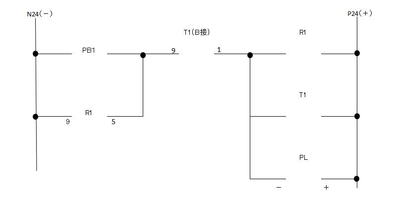 回路から接点、負荷を消した図