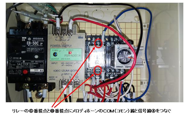 メロディを接続する接点の解説図