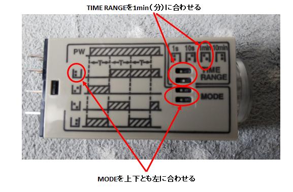タイマーリレーのレンジ調整要領の解説図