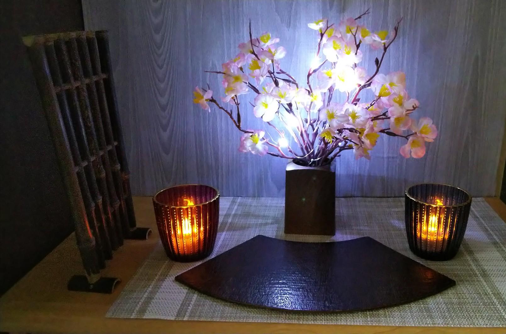 桜飾り ライトアップ時の写真