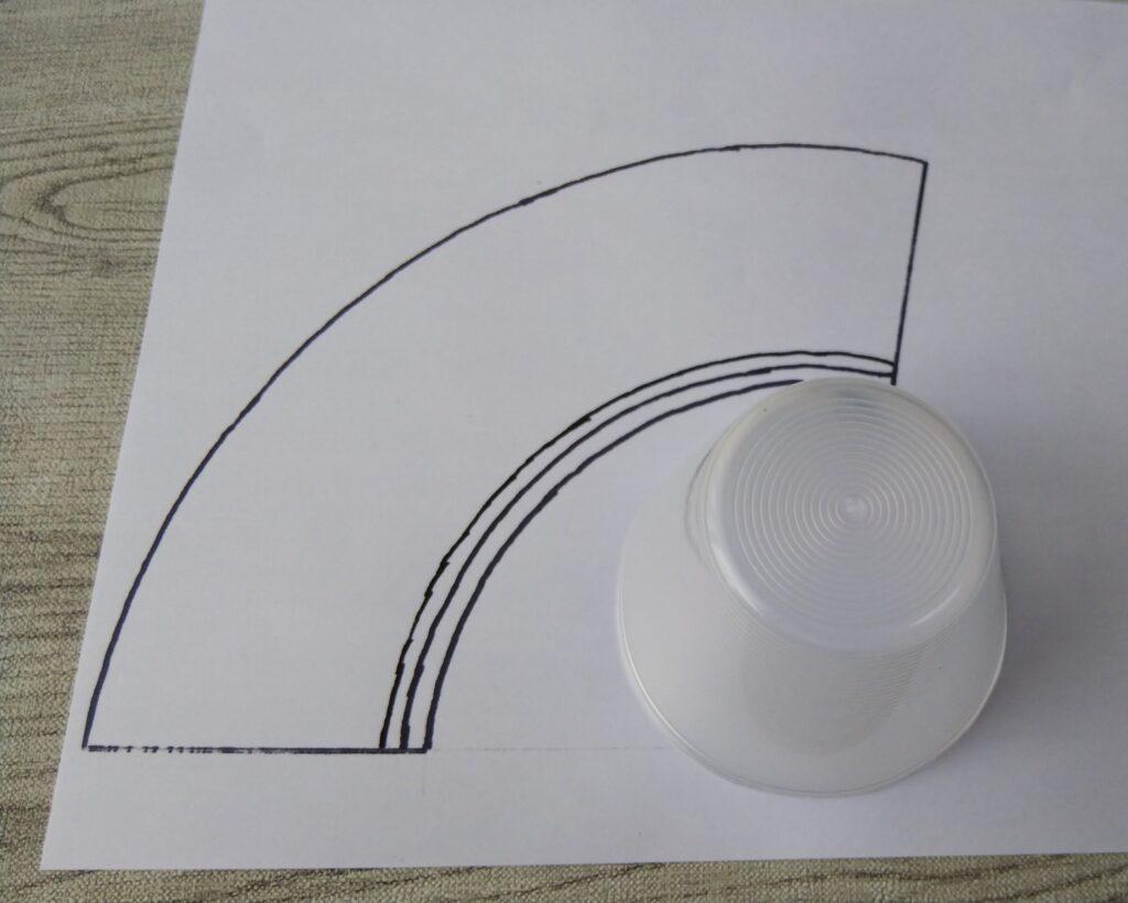円錐台の展開図の写真